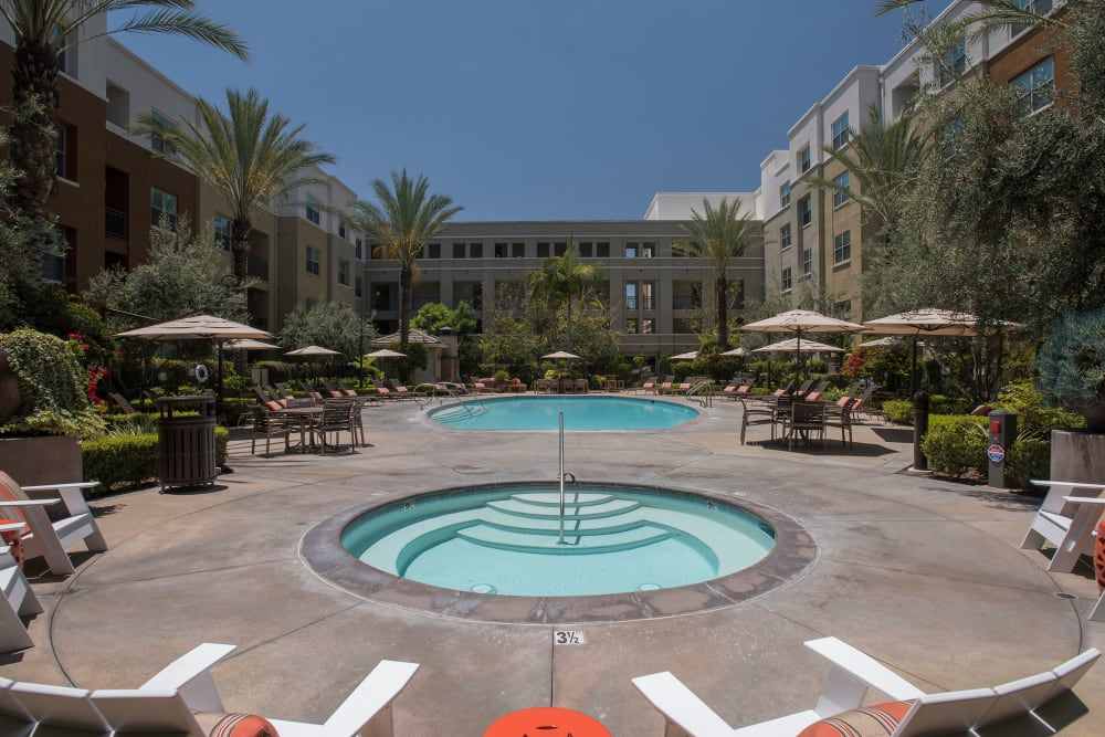 Swimming pool with a spacious sundeck at Paragon at Old Town in Monrovia, California