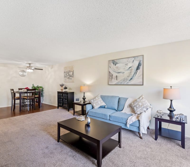 A spacious living room with carpeting at The Parkview in Lake Balboa, California
