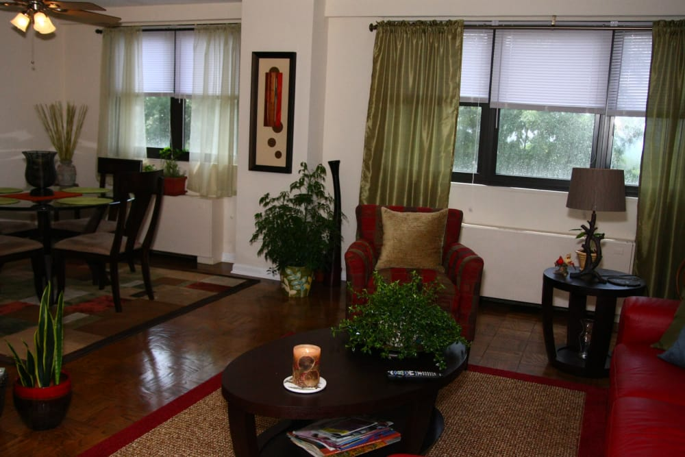 Living room and apartment dining area at Carlyle Towers