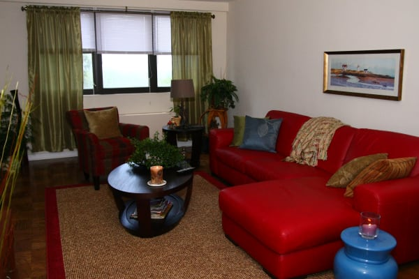 Beautiful living room at Carlyle Towers in Caldwell, NJ