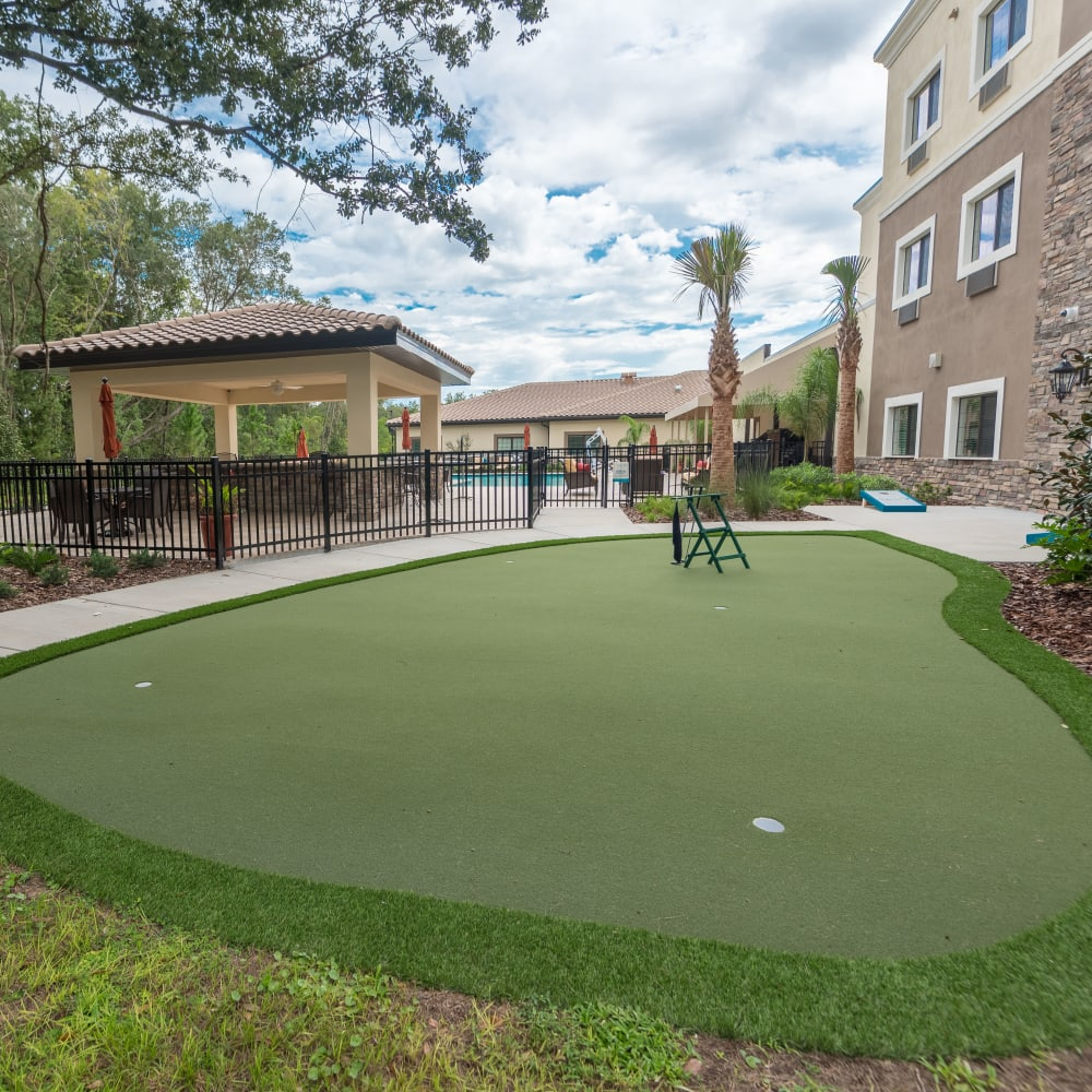 Putting green at Inspired Living in Lewisville, Texas.