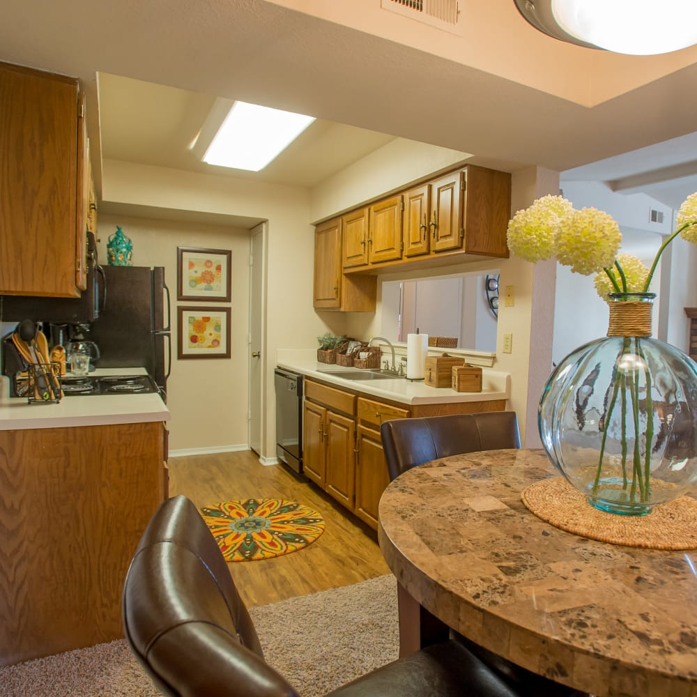 Spacious kitchen and dining area at Barrington Apartments in Tulsa, Oklahoma
