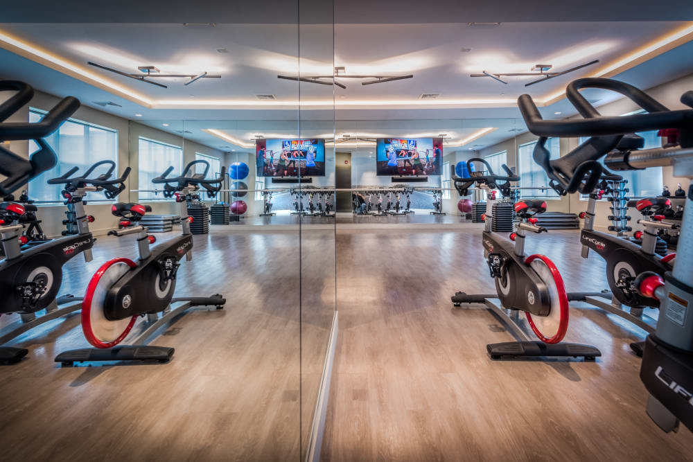Modern fitness center at The Chase at Overlook Ridge in Malden, Massachusetts