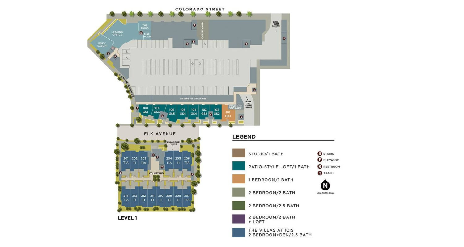 Community site map for the first floor for Brio Apartment Homes in Glendale, California