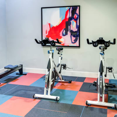 Spin bikes and more in the onsite fitness center at Sofi at Somerset in Bellevue, Washington