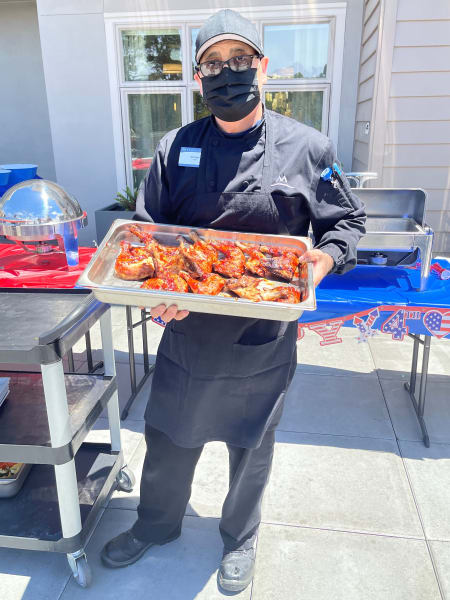 Monterey's (CA) chef got out on the grill and whipped up some tasty barbeque for the community.