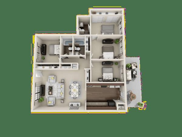 Allstar floor plan at Villages at Parktown Apartments
