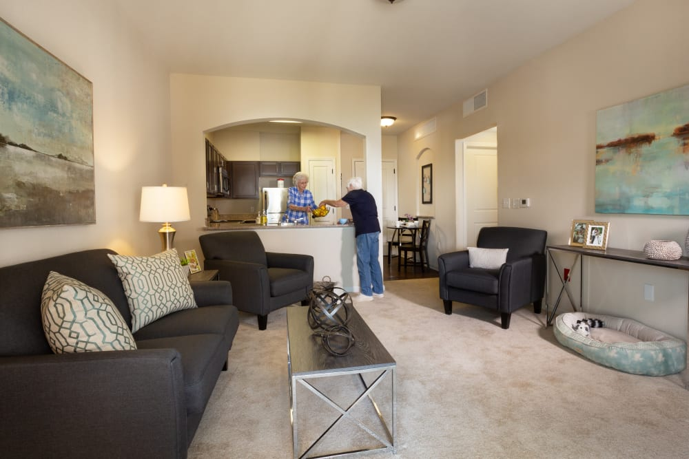 An apartment living room at Harmony at Five Forks in Simpsonville, South Carolina