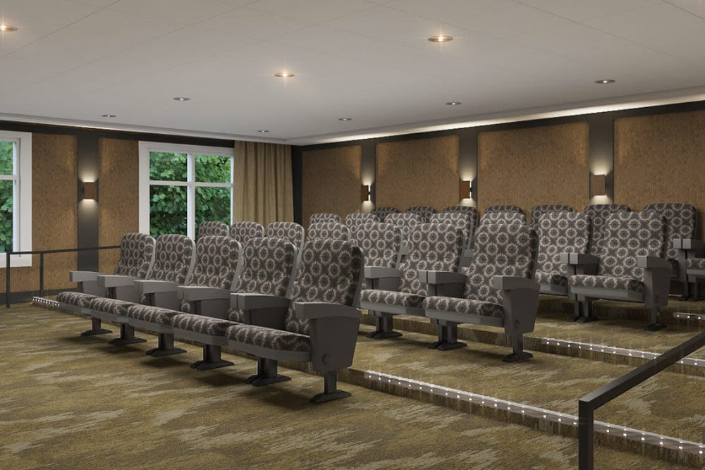 Deluxe movie room in upscale senior living facility at The Springs at Sherwood in Sherwood, Oregon