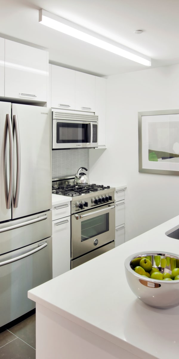Beautiful luxury kitchen with stainless-steel appliances at The Larstrand in New York, New York