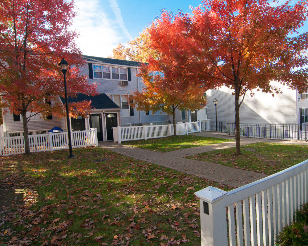 Private backyards with fall leaves at Cortlandt Ridge in Ossining, New York