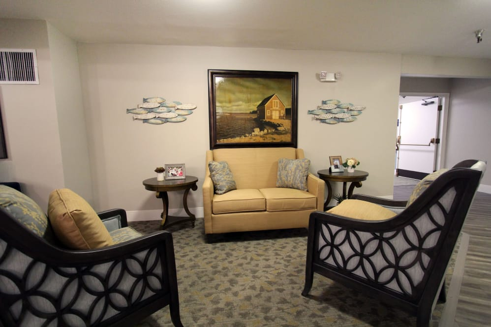 Cozy lounge at The Village Senior Living in Tacoma, WA