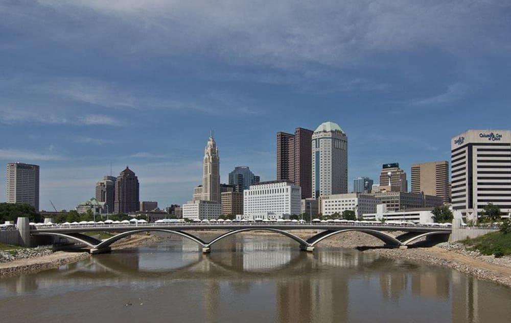 Waterfront view of Columbus, Ohio near Easton Commons
