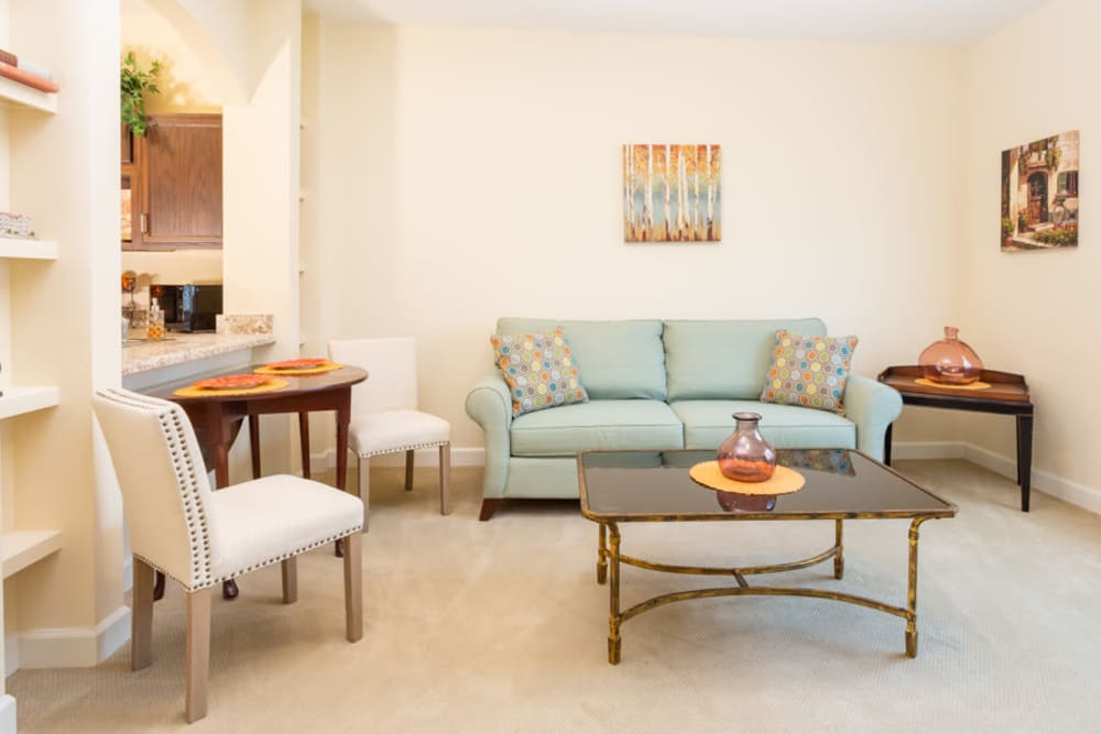 Apartment living room at The Harmony Collection at Roanoke - Assisted Living in Roanoke, Virginia