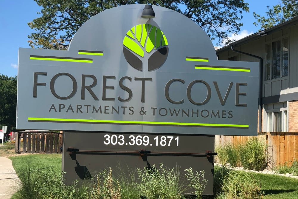 Our sign welcoming residents and their guests at Forest Cove Apartments in Denver, Colorado