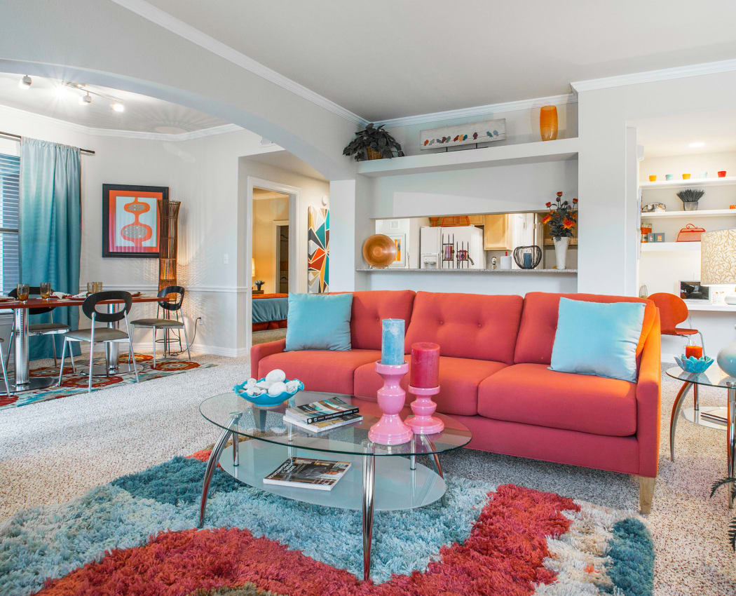 Well-decorated open-concept  model home at Riata in Austin, TX