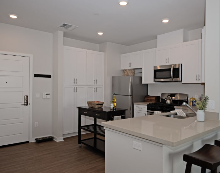 Modern, gourmet kitchen with stainless appliances in model home at IMT Sherman Circle in Van Nuys, CA