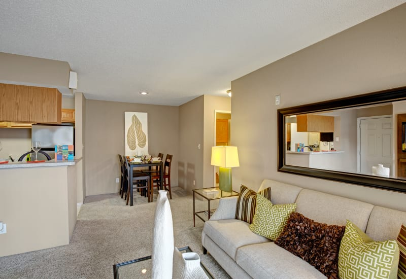 Bright spacious living area at The Lakes of Schaumburg in Schaumburg, Illinois
