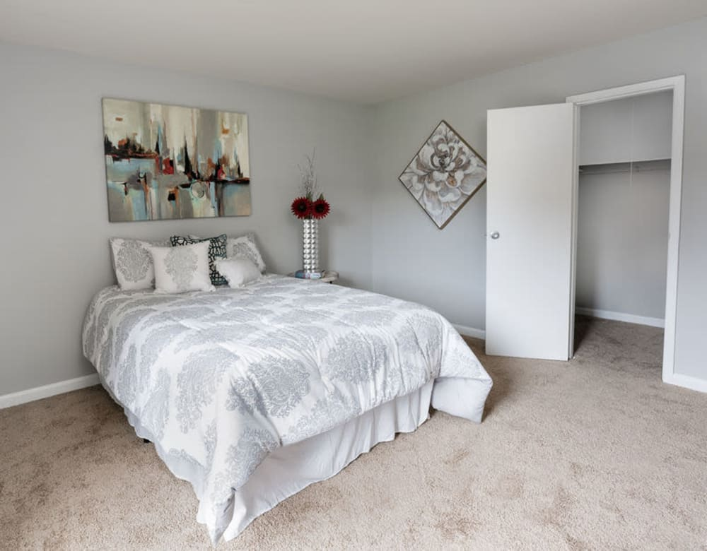 Large master bedroom with a closet at The Glendale Residence in Lanham, Maryland