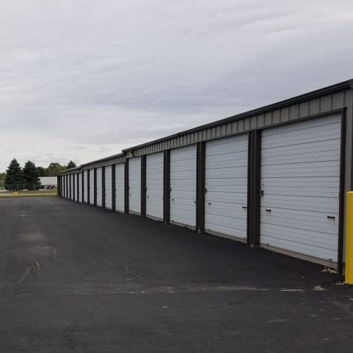 Outdoor storage units at Red Dot Storage in Cortland, Illinois