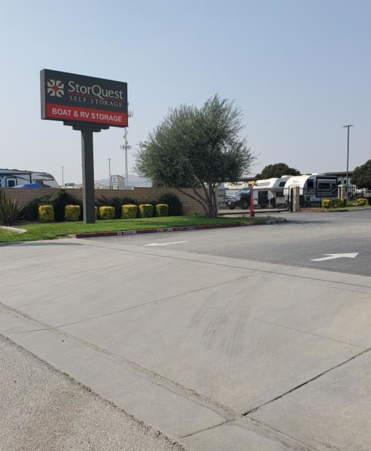 The exterior of the main entrance at StorQuest RV and Boat Storage in Moreno Valley, California