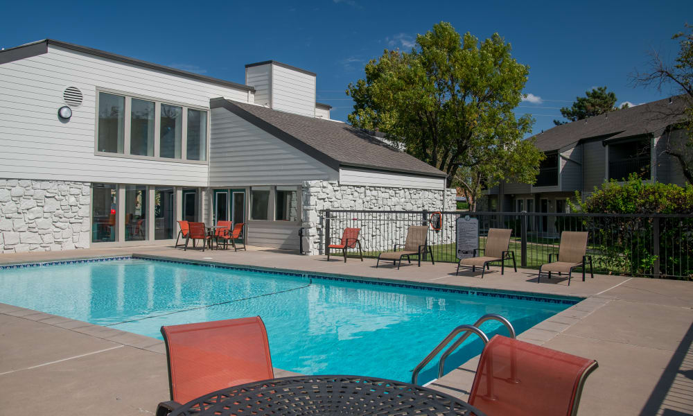 Sparking swimming pool at Aspen Park Apartments in Wichita, Kansas