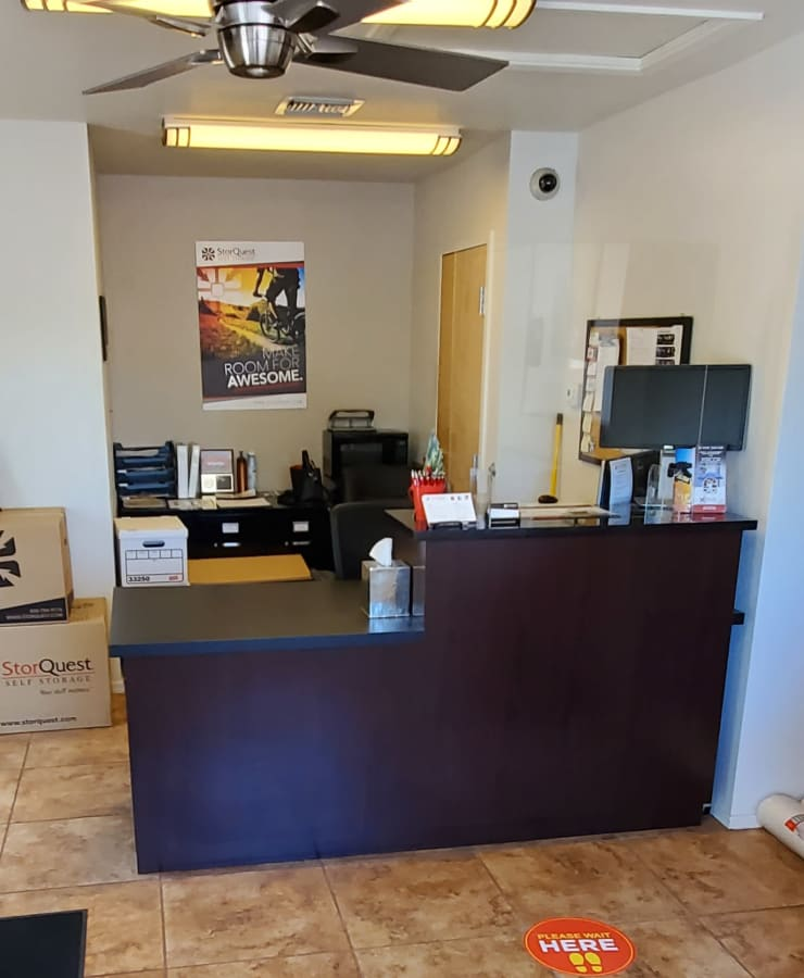 Interior of the leasing office at StorQuest Self Storage in Tempe, Arizona