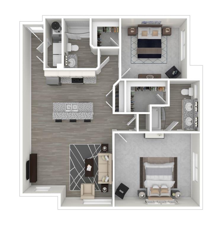 Unit 202 floor plan at lCallio Propertiesin Chattanooga, Tennessee