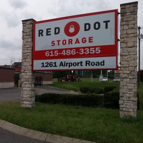 Sign at street entrance at Red Dot Storage in Gallatin, Tennessee