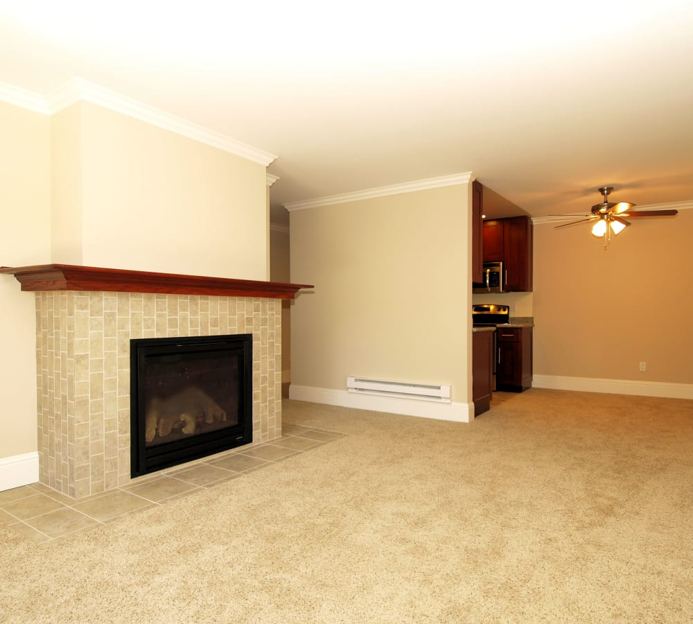 Bedroom with plush carpeting and a large window at Regency Plaza Apartment Homes in Martinez, California