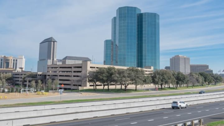 The Heritage District skyline from Olympus Las Colinas in Irving, Texas