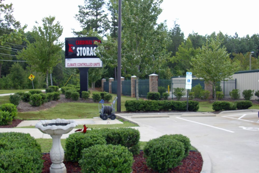 Fountain in front of Cardinal Self Storage - North Durham in Durham, North Carolina