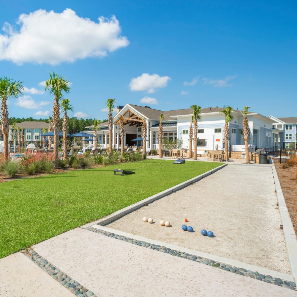 Outdoor bocce ball court at Elevate at Brighton Park in Summerville, South Carolina