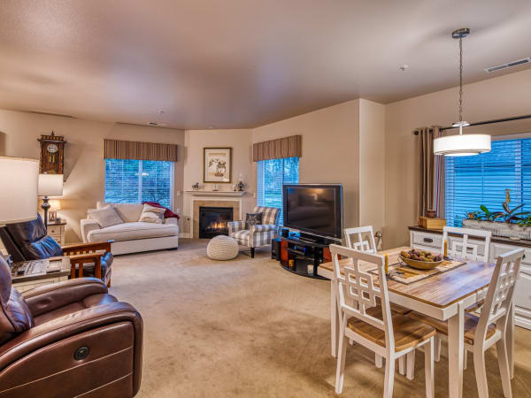 Resident living room at Patriots Landing in DuPont, Washington.