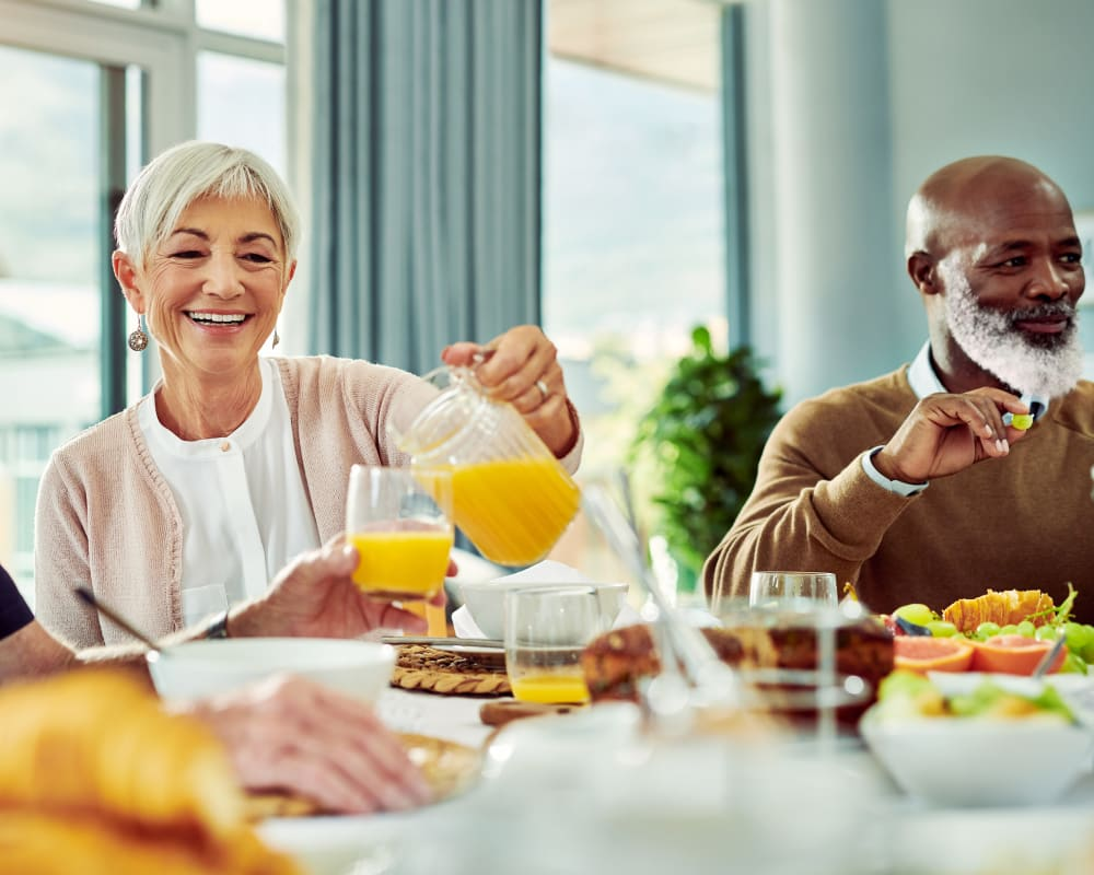 Residents enjoy breakfast options at Arlington Place of Grundy Center in Grundy Center, Iowa.