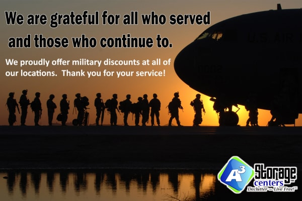 Military discounts at A3 Storage Centers in Wolfforth, Texas