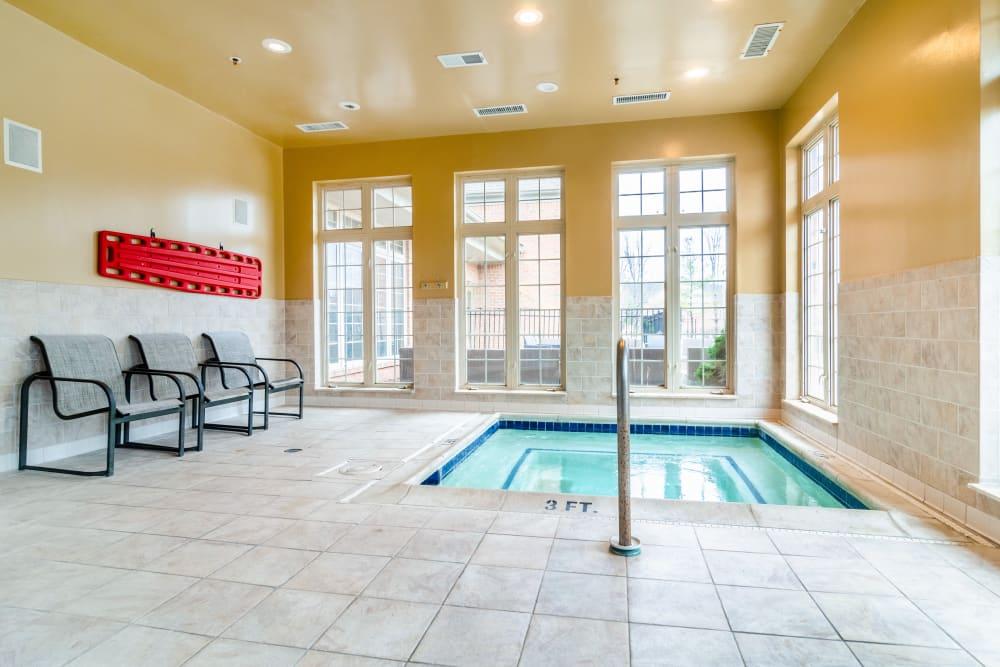 Indoor hot tub at Central Park Estates in Novi, Michigan