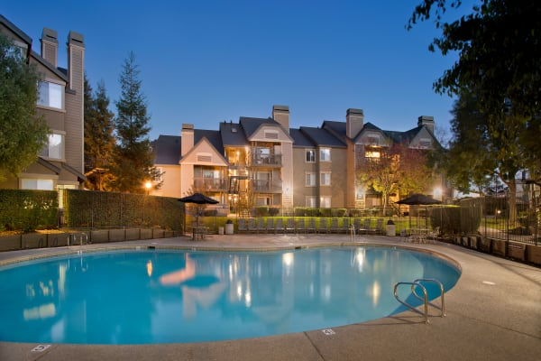 Beautiful swimming pool at Mill Springs Park Apartment Homes in Livermore, California