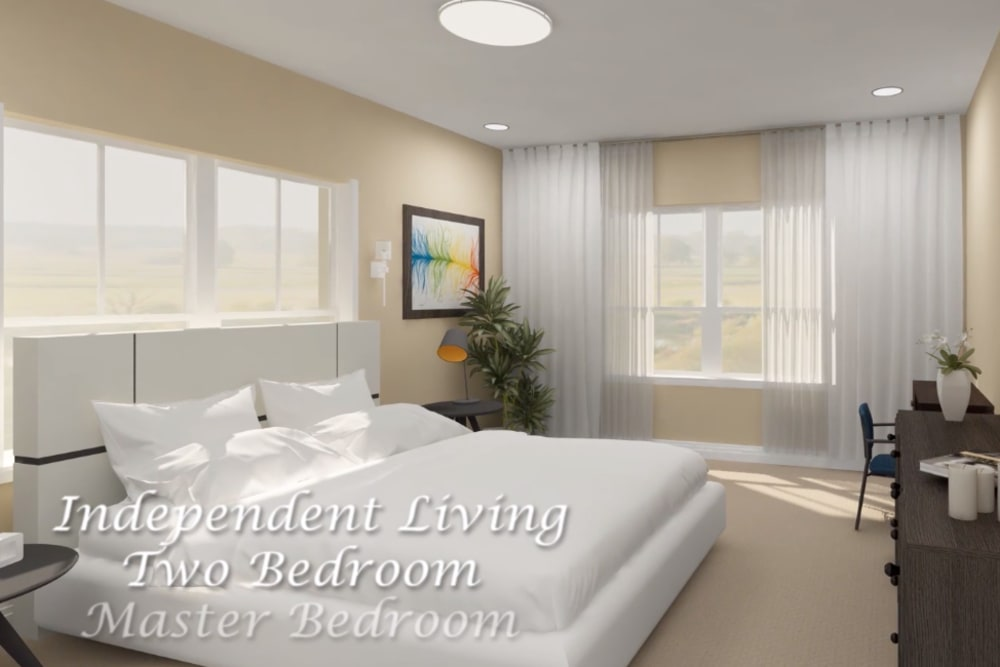 Architectural rendering of bedroom at Harmony at Brookberry Farm in Winston-Salem, North Carolina