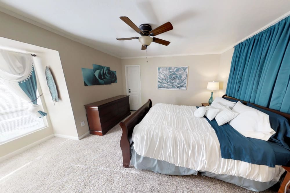 Bedroom at Falls of Maplewood Apartments in Houston, Texas