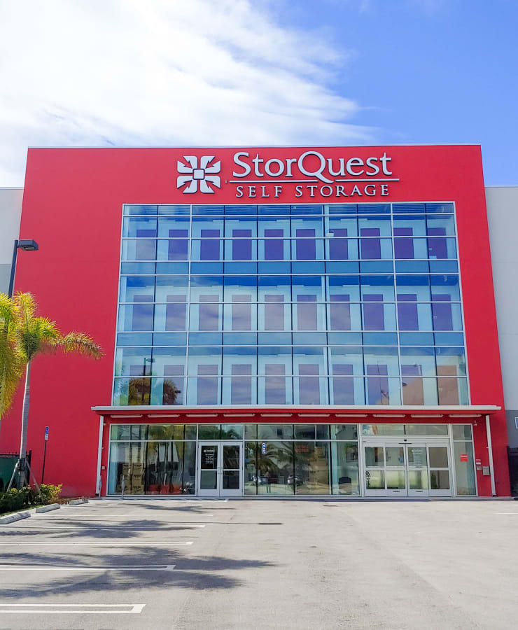 The exterior of the main entrance at StorQuest Self Storage in North Miami Beach, Florida