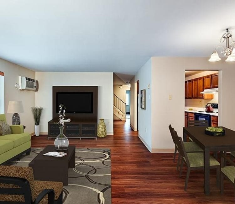 Spacious living room at Maiden Bridge and Canongate Apartments