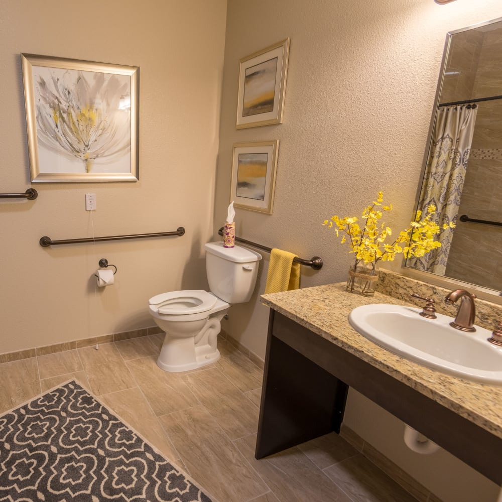 Memory care bathroom at Inspired Living Ocoee in Ocoee, Florida