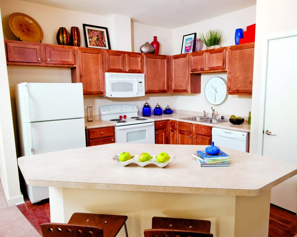 Kitchen with bright accents at The Preserve in New Orleans, Louisiana