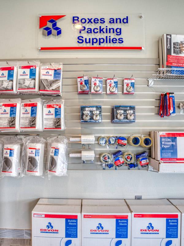 Packing supplies at Devon Self Storage in Seabrook, Texas