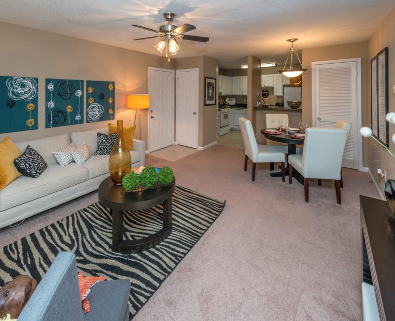 Well-furnished living area with plush carpeting and a ceiling fan in a model home at Bellingham Apartment Homes in Marietta, Georgia