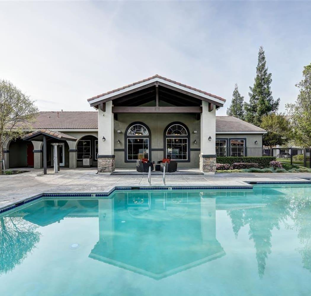 Pool area at Sierra Oaks Apartments in Turlock, California