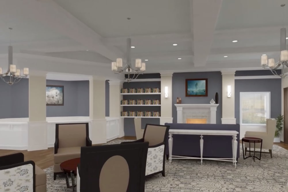 Architectural rendering of lobby at Harmony at Brookberry Farm in Winston-Salem, North Carolina