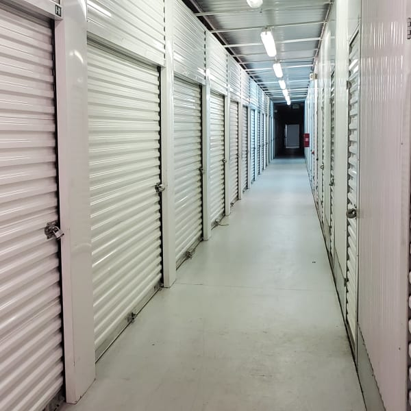 Indoor storage units at StorQuest Self Storage in Aurora, Colorado