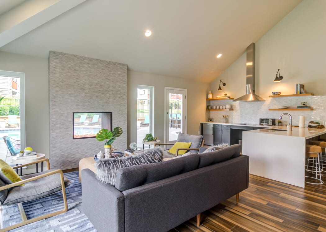 Modern decor in living area of model home at Heatherbrae Commons in Milwaukie, Oregon
